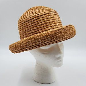 Bowler / Bucket –Style Vintage Natural Straw Hat
